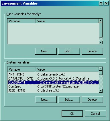 setting the classpath in Win2K